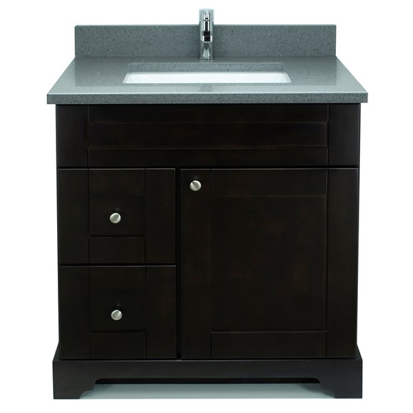 Lukx® Bold Damian Vanity With Crystal Grey Quartz countertop - Left Side Drawer - 24-in - Espresso