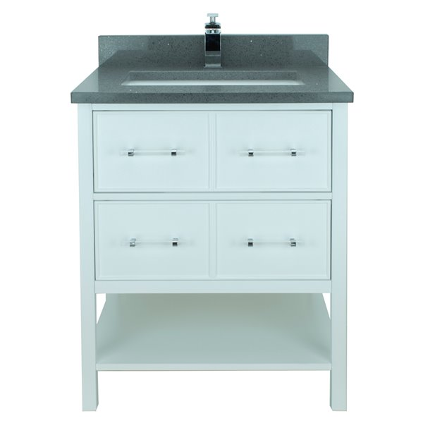 Lukx® Bold Gemma Vanity with Crystal Grey Quartz countertop - 36-in - White