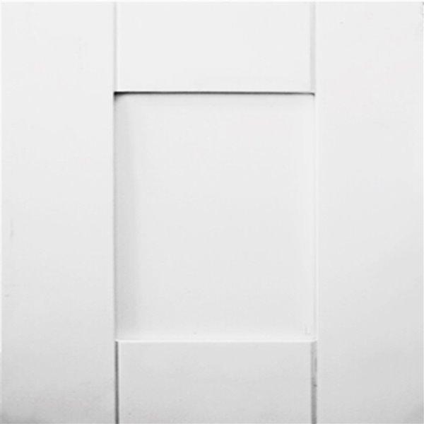 """Vanitée avec comptoir en Quartz """"Milky way"""" Bold Damian de Lukx®, tiroir à gauche, 30 po, blanc"""