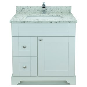 Lukx® Bold Damian Vanity With Milky Way Quartz countertop - Left Side Drawer - 30-in - White