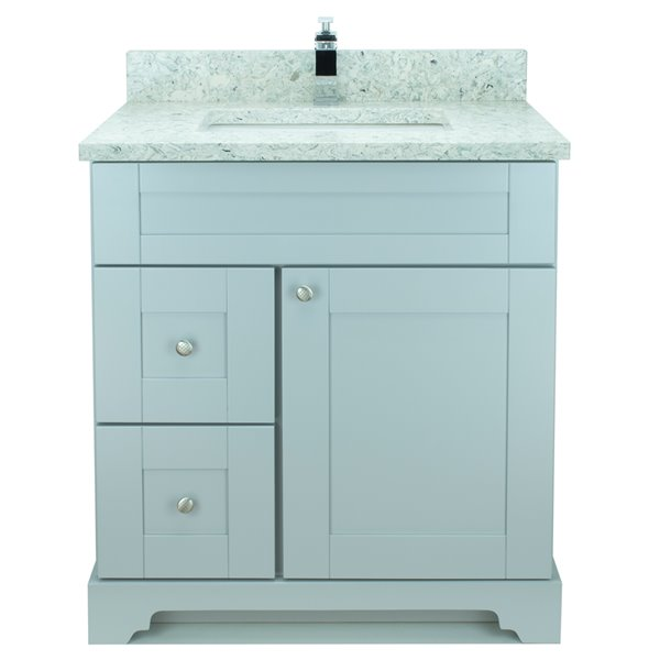 Lukx® Bold Damian Vanity with Topaz Quartz countertop - Left Side Drawer - 24-in - Grey