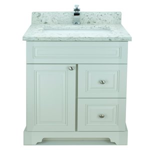 Lukx® Bold Damian Vanity With Milky Way Quartz countertop - Right Side Drawer - 30-in - Antique White