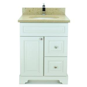 Vanitée avec comptoir en Quartz Bold Damian de Lukx®, tiroir à droite, 24 po, blanc antique