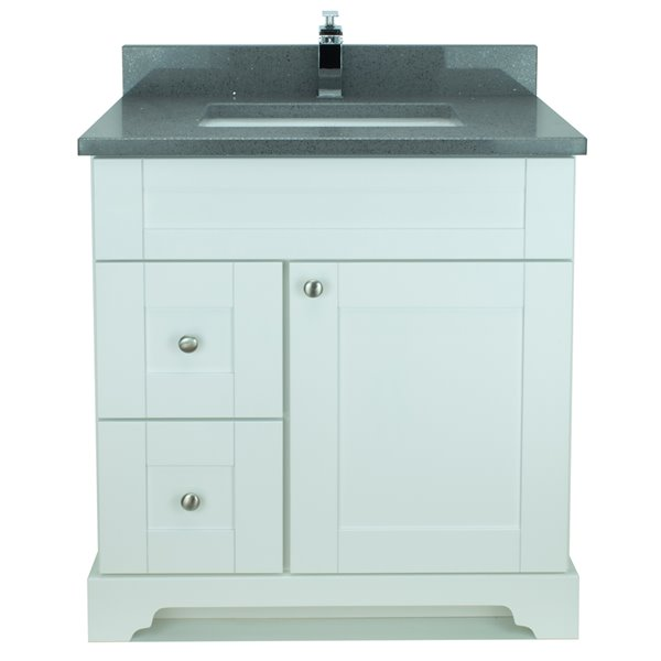 Lukx® Bold Damian Vanity With Quartz countertop - Left Side Drawer - 30-in - White