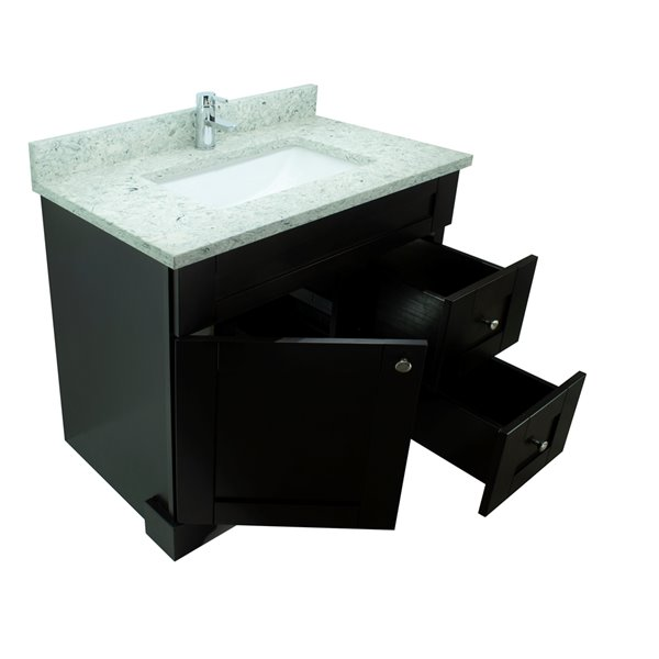 Lukx® Bold Damian Vanity With Topaz Quartz countertop - Right Side Drawer - 36-in - Espresso