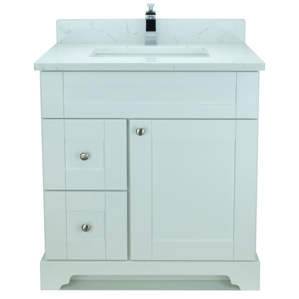 Lukx® Bold Damian Vanity With Carrera Quartz countertop - Left Side Drawer - 30-in - White