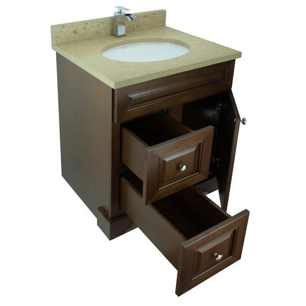 Vanitée avec comptoir en Quartz Bold Damian de Lukx®, tiroir à gauche, 24 po, bois royal