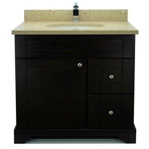 Vanitée avec comptoir en Quartz Brun Royal Bold Damian de Lukx®, tiroir à droite, 36 po, espresso
