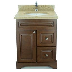 Vanitée avec comptoir en Quartz Bold Damian de Lukx®, tiroir à droite, 24 po, bois royal