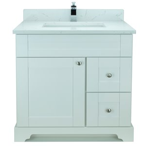 Vanitée avec comptoir en Quartz Carrera Bold Damian de Lukx®, tiroir à droite, 36 po, blanc