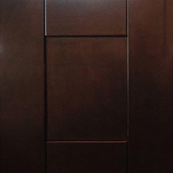 Lukx® Bold Damian Vanity with Carrera Quartz countertop - Right Side Drawer - 24-in - Espresso