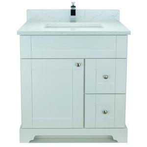 Vanitée avec comptoir en Quartz Carrera Bold Damian de Lukx®, tiroir à droite, 30 po, blanc