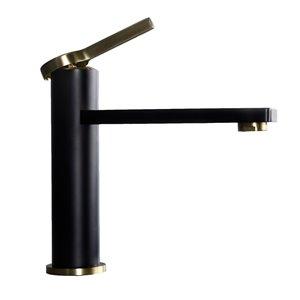 Robinet de lavabo à 1 poignée Michael Splash de Lukx®, noir mat/bronze brossé