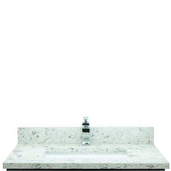 Base de vanité avec comptoir en Quartz blanc laiteux Bold Gemma de Lukx®, 30-po, noir
