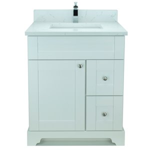 Lukx® Bold Damian Vanity With Carrera Quartz countertop - Right Side Drawer - 24-in - White