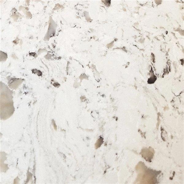 """Vanitée avec comptoir en Quartz """"Milky way"""" Bold Damian de Lukx®, tiroir à gauche, 36 po, blanc"""