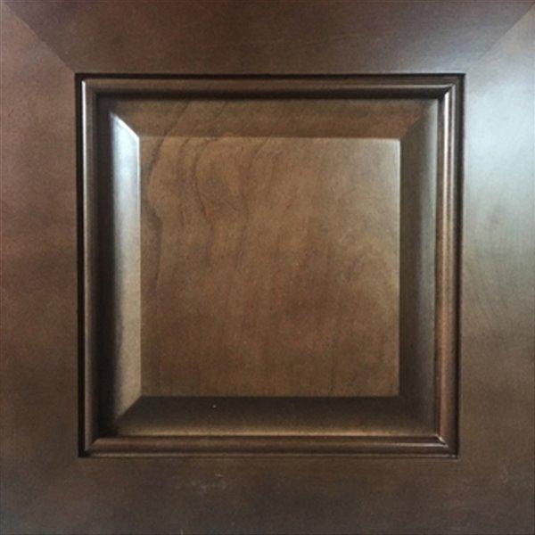 Vanitée avec comptoir en Quartz blanc satiné Bold Damian de Lukx®, tiroir à gauche, 30 po, bois royal