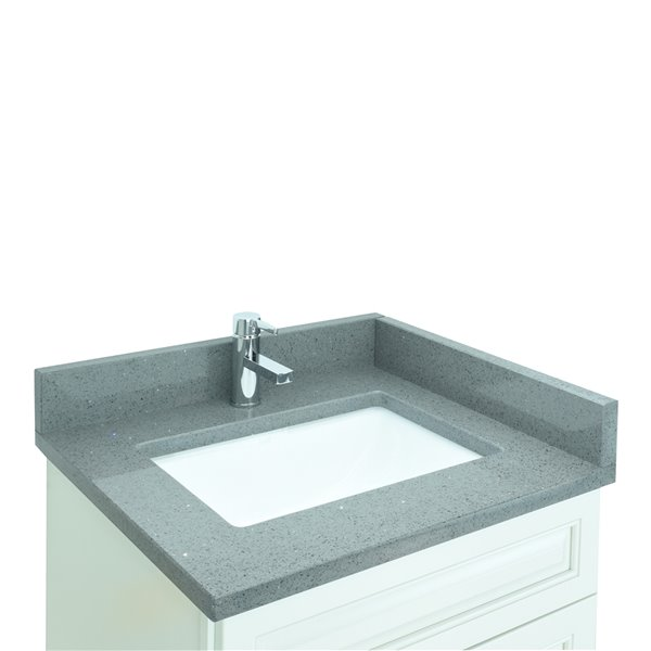 Lukx® Bold Damian Vanity With Crystal Grey Quartz countertop - Left Side Drawer - 24-in - Antique White