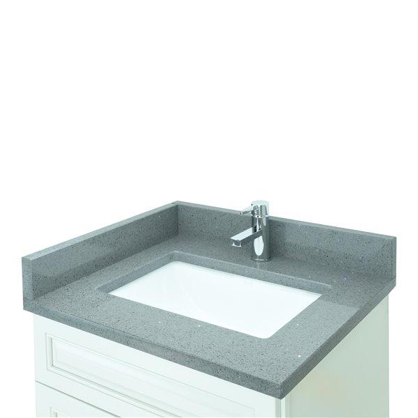 Vanitée avec comptoir en Quartz gris cristal Bold Damian de Lukx®, tiroir à droite, 24 po, blanc antique