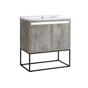 Vanité avec comptoir en céramique Modo Mark de Lukx®, pattes chrome, 32-po, gris