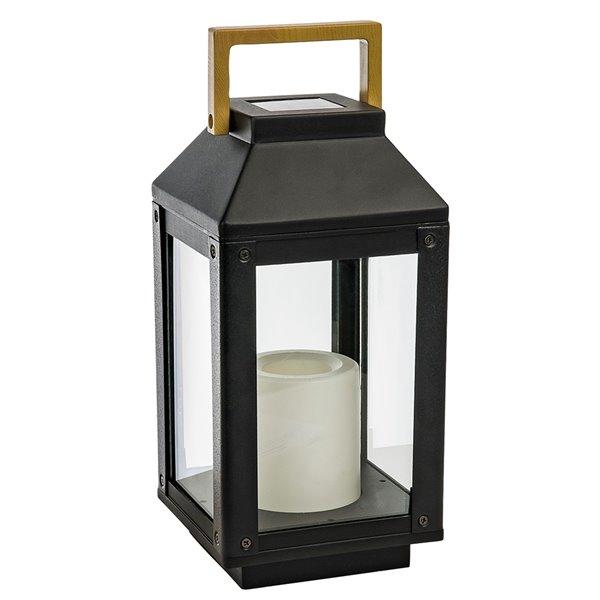Lanterne solaire avec chandelle sans flamme DEL de Paradise, noir
