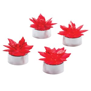 Paradise Poinsettia LED Tea Lights - 4-Pack