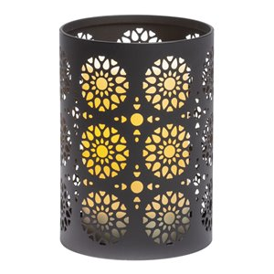 Photophore lumineux en métal à motif avec minuterie programmable de Candle Impressions, 4,25 po x 6 po