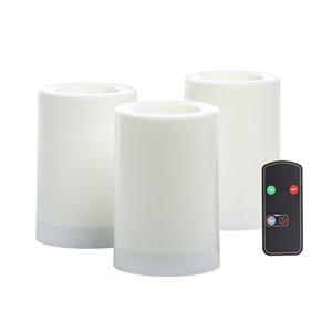 Bougies piliers à DEL sans flamme de Inglow avec télécommande et minuterie, paquet de 3