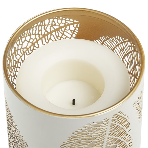 Candle Impressions Metal Laser-Etched Leaf Design Luminary with Programmable Timer - 3.5-in x 7-in
