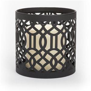 Photophore lumineux en métal à motif avec bougie pilier en plastique de Inglow, 3 po x 3 po
