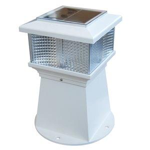 Lampe solaire DEL Piling Lite de Dock Edge, 6 po, blanc