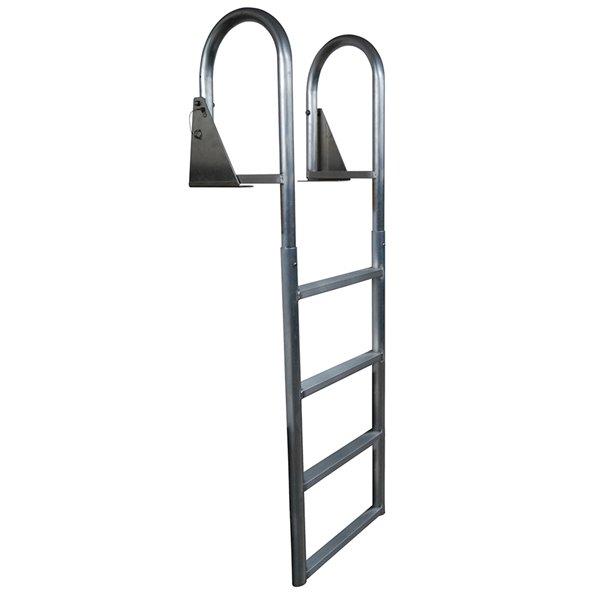 Dock Edge Flip-Up Dock Ladder - 4-Step - Welded - Aluminum