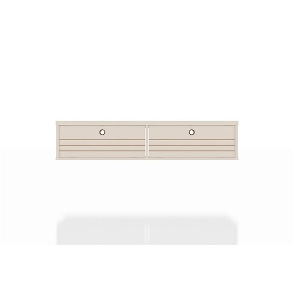 Manhattan Comfort Liberty Floating Office Desk - 42.28-in - Glossy Off-White