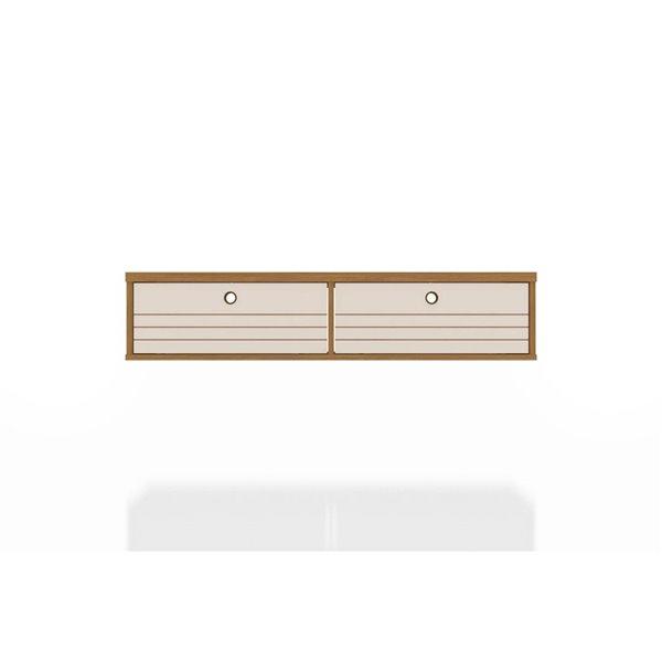 Manhattan Comfort Liberty Floating Office Desk - 42.28-in - Cinnamon Brown/Off-White