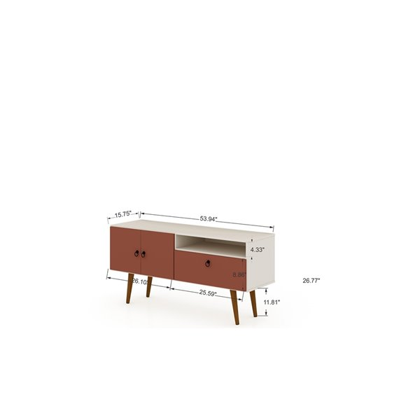 Manhattan Comfort Tribeca TV Stand - 53.94-in - Off-White and Terra Orange Pink
