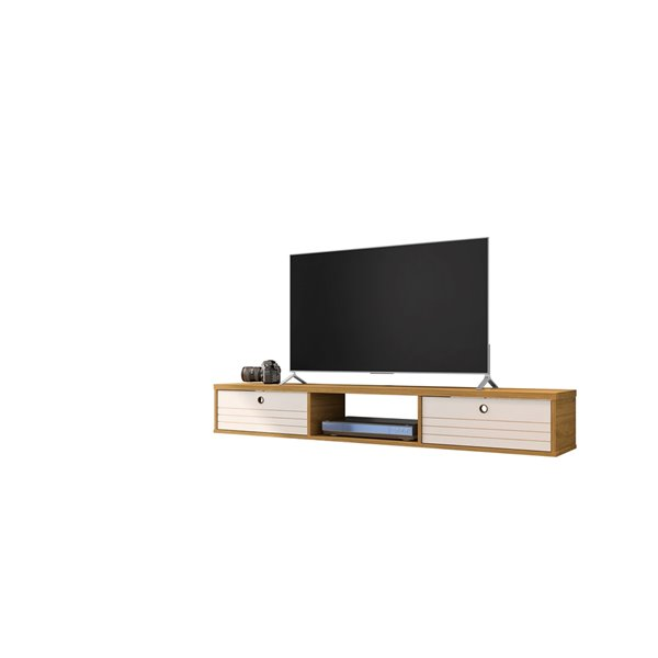 Manhattan Comfort Liberty Entertainment Center- 62.99-in - Cinnamon Brown and Off-White