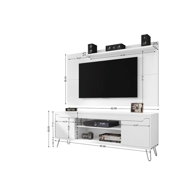 Manhattan Comfort Baxter and Liberty TV Stand and Panel - 62.99-in - White