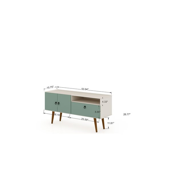 Manhattan Comfort Tribeca TV Stand - 53.94-in - Off-White and Green Mint
