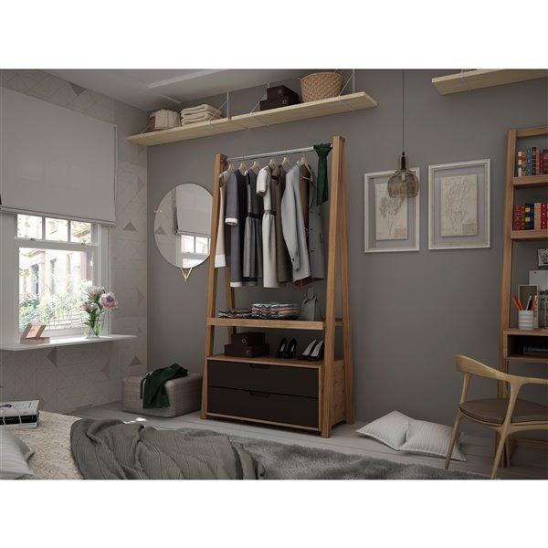 Manhattan Comfort Rockefeller Open Wardrobe Armoire - 38.62-in x 71.42-in - Natural and Grey