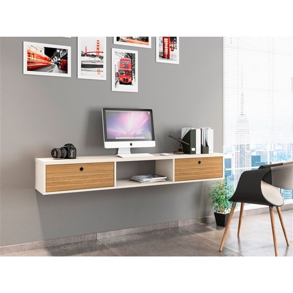Manhattan Comfort Liberty Floating Office Desk - 62.99-in - Off-White/Cinnamon Brown