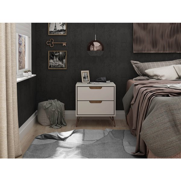 Manhattan Comfort Rockefeller 2.0 Nightstand - 21.65-in - Off-White and Natural