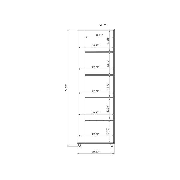 Manhattan Comfort Cypress Bookcase - 23.62-in x 74.02-in - Black