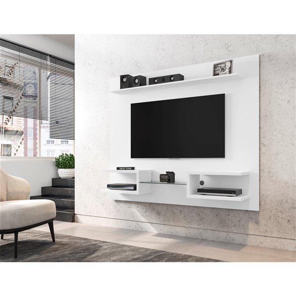 Manhattan Comfort Plaza Floating Entertainment Center - 64.25-in - White