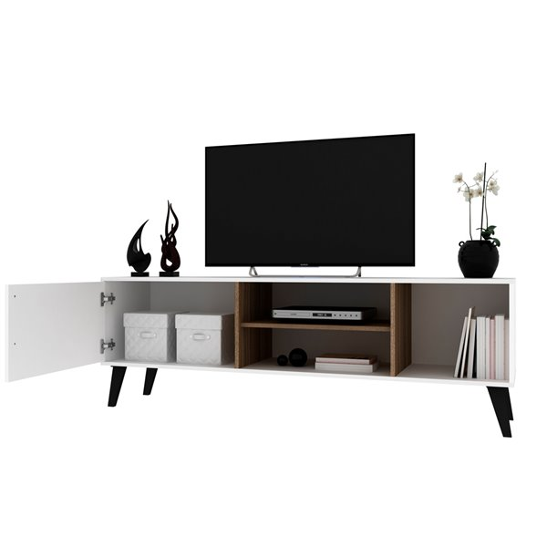 Manhattan Comfort Amsterdam TV Stand - 63-in - White and Oak