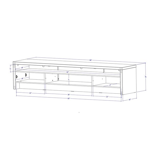 Manhattan Comfort Sylvan TV Stand - 85.43-in - Natural Wood and Off-White