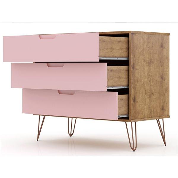 Manhattan Comfort Rockefeller Dresser - 35.24-in x 28.86-in - Natural Brown/Pink