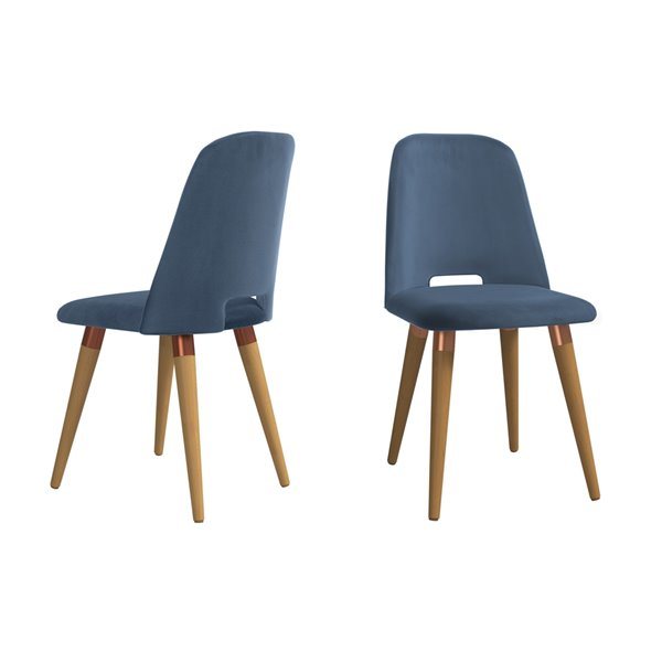 Manhattan Comfort Selina Dining Accent Chair - Blue - Set of 2