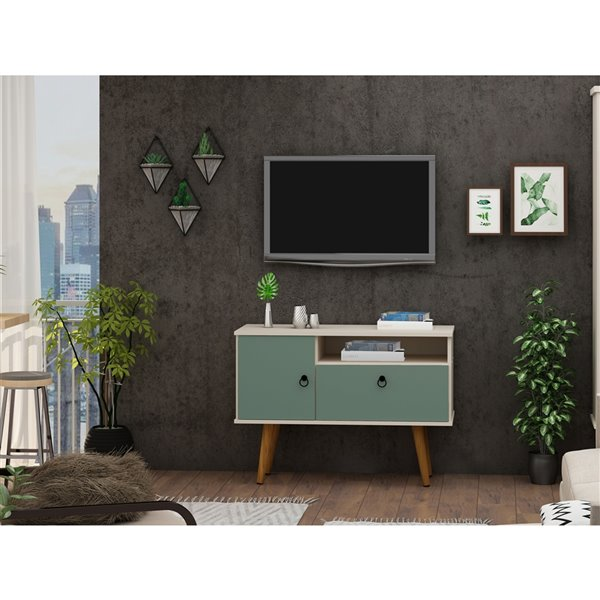 Manhattan Comfort Tribeca TV Stand - 35.43-in - Off-White and Green Mint