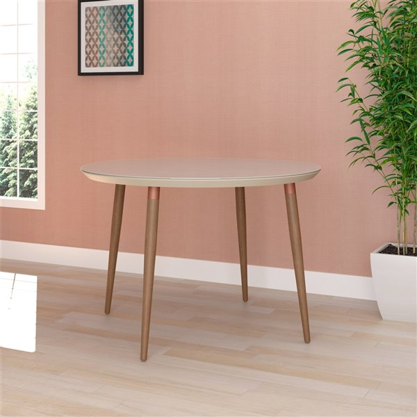 Manhattan Comfort Utopia Round Dining Table - 45.27-in - Off-White