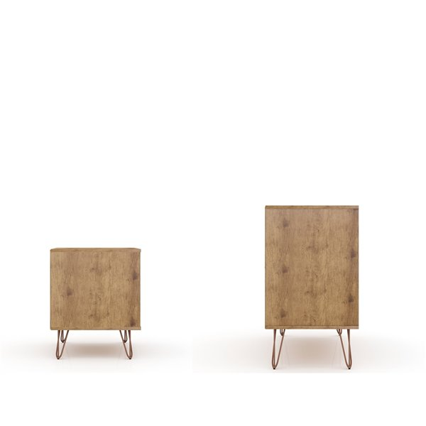 Manhattan Comfort Rockefeller Dresser and Nightstand Set - 28.86-in - Natural Brown and Pink